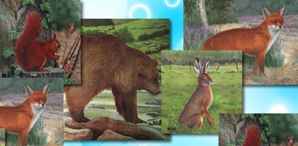 Pack Dianas Animales - Pack de 14 dianas: ardilla, armiño, arrendajo, conejo, faisán, liebre, lobo, oso, pato, pavo, perdiz, urogallo, venado y zorro