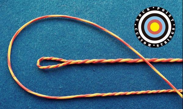 Cuerda Custom Flemish Fabricada a Mano - Nock Point - Cuerdas fabricadas artesanalmente y totalmente personalizadas (materiales, longitudes, colores, etc.) Gracias a la fabricación manual, el acabado de las mismas es muy superior a las fabricadas a máquina que se comercializan habitualmente