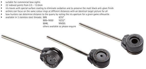 Indice visor Gehmann con Apertura Regulable para Recurvo 8/32 - Indice con apertura regulable en 22 posiciones (desde 0.5mm hasta 12mm)