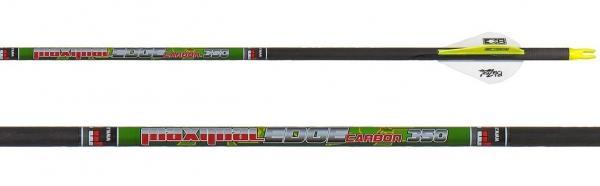 Flecha de Caza Carbon Edge (unidad) - Incluye culatín, inserto y viene emplumada con plumas Blazer. No incluye punta