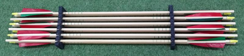 LIQUIDACIÓN: Flecha madera Rose City Premium con pluma natural (docena) - No incluye punta. Longitud vástago 32